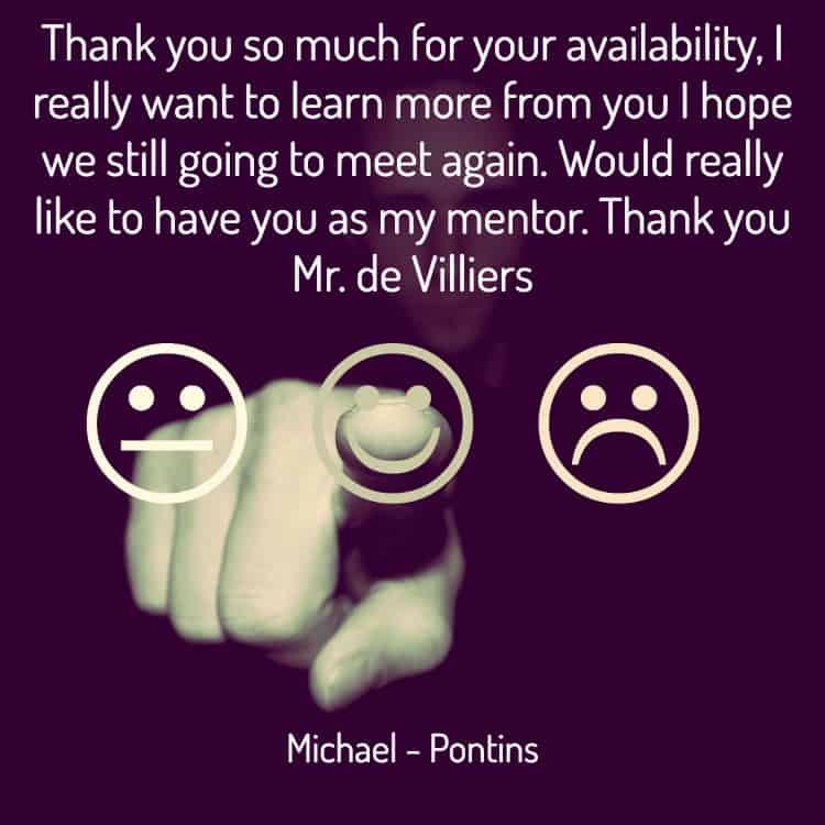 Testimonial for sales trainer, Jacques de Villiers