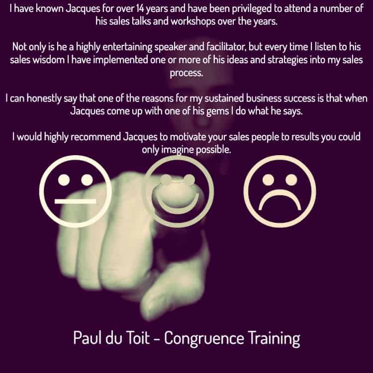 sales training Jacques de Villiers testimonial from Paul du Toit