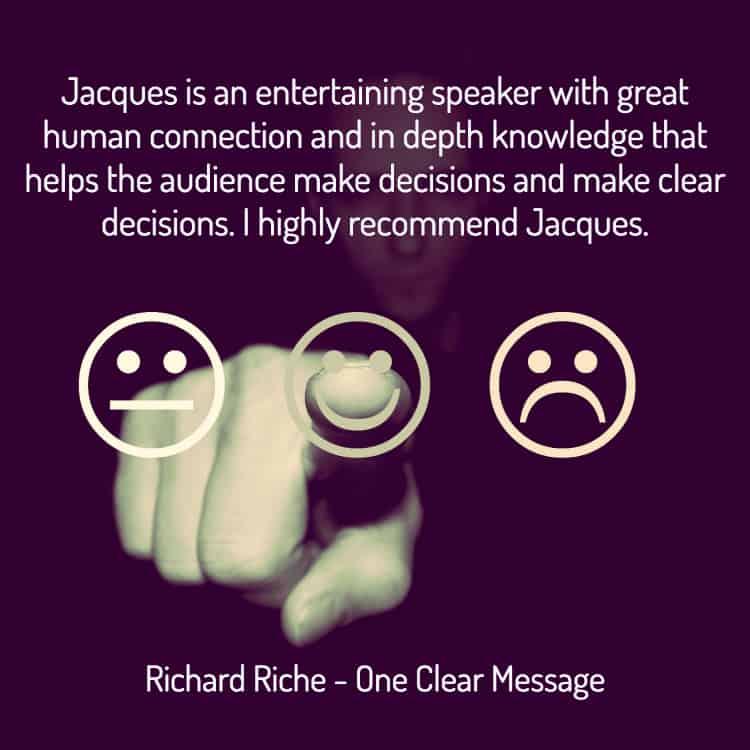 Professional speaker, Jacques de Villiers testimonial