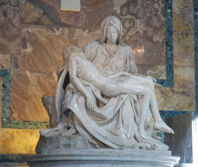 La Pietà de Michel-Ange, Basilique Saint-Pierre de Rome, Italie.