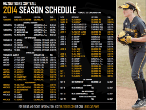 2014 Mizzou Tigers Softball Season Schedule designed by JA Creative Group