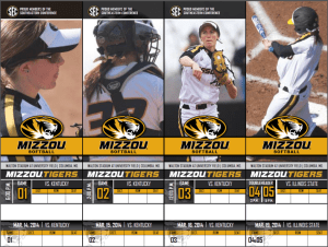 2014 SEC Conference Mizzou Tigers Softball Season Tickets created and designed by JA Creative Group