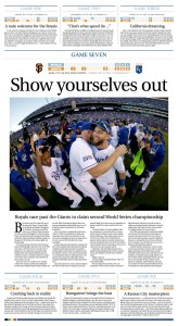 Kansas City Royals 2014 World Series Championship Full Page Schedule Design for the Columbia Daily Tribune by JA Creative Group