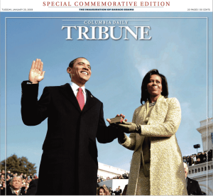 Obama Inauguration 2009 Columbia Daily Tribune Front Page designed by JA Creative Group