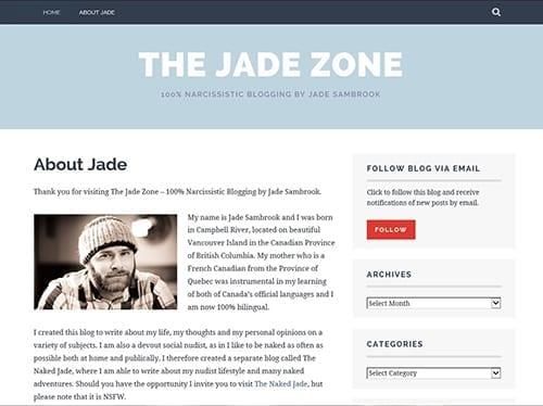 Screenshot of Jade Sambrook's personal blog: The Jade Zone Blog