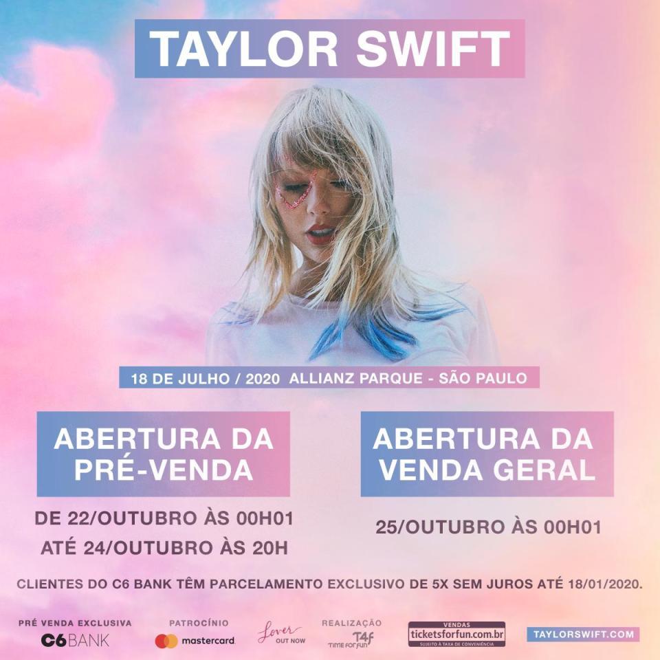 Taylor Swift no Brasil: Venda de Ingressos começa em outubro!