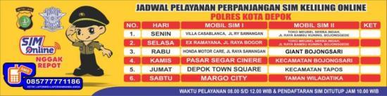 Jadwal SIM Keliling Depok Maret 2019