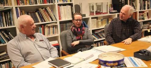 Fra et planleggingsmøte, fra venstre Helge Nyhus, Tine Daae og Harald Grønnestad.
