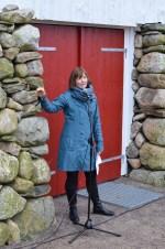 Prosjektleiar Anne Jorunn Frøyen fortalte om utstillinga.