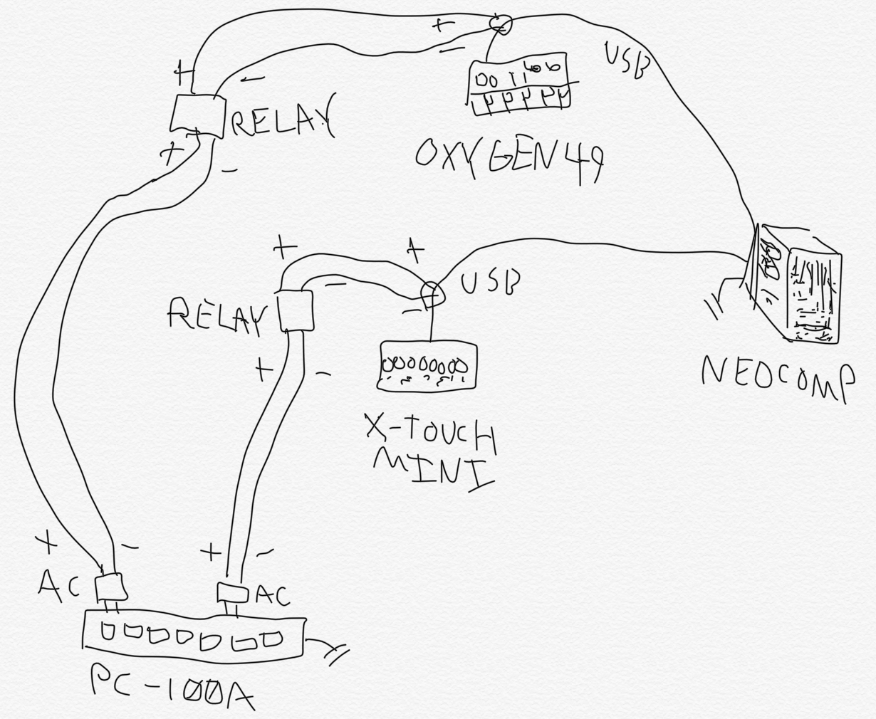 Installing A Relay Switch For Music Studio Hardware Mixer Jaxx Positive Switched Schematic Diagram Its Good Idea To Sketch How Youll Wire Things Up Heres My Brainstorming Session When Figuring Out Id Do This