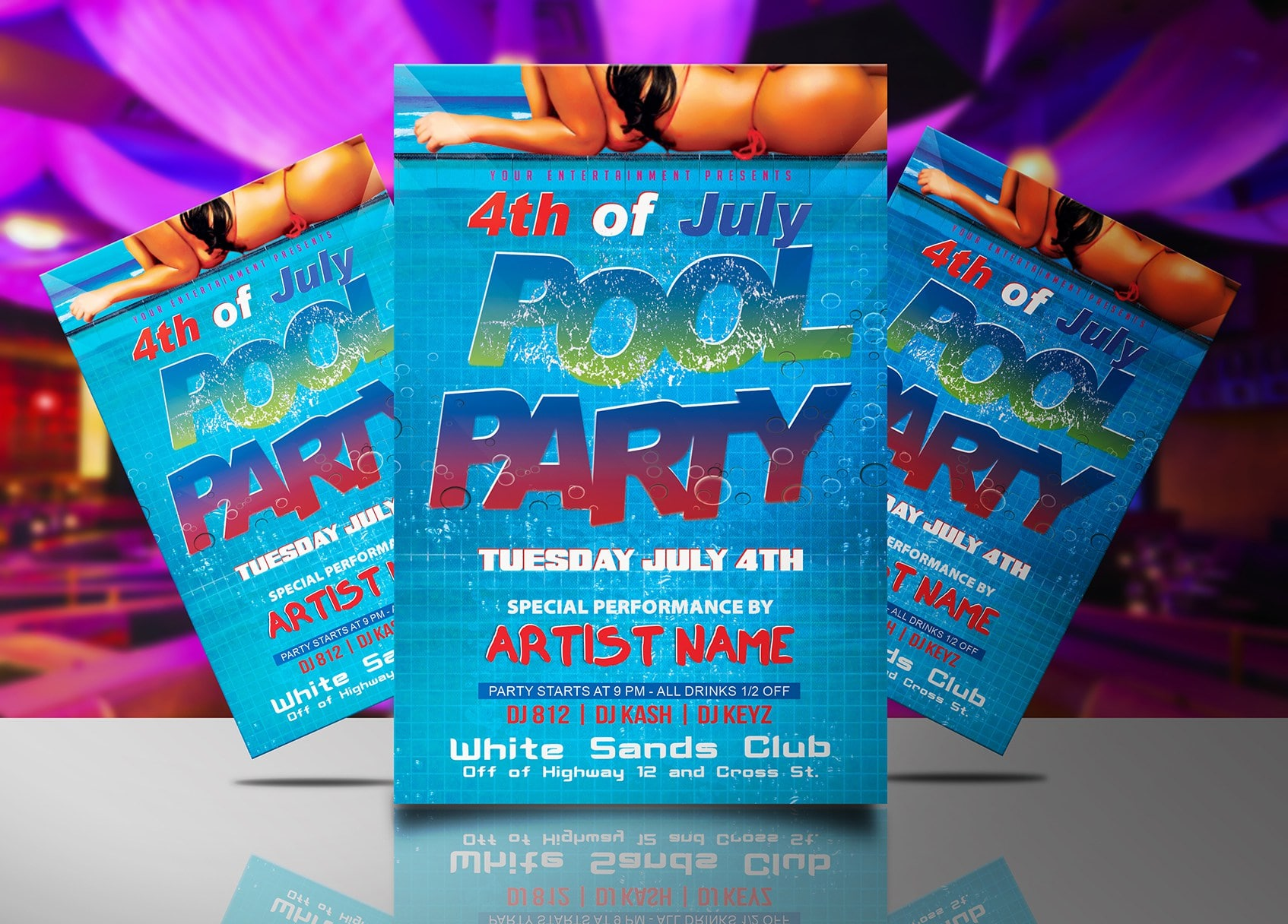 4th Of July Pool Party Flyer Template Jaf Creative Studios