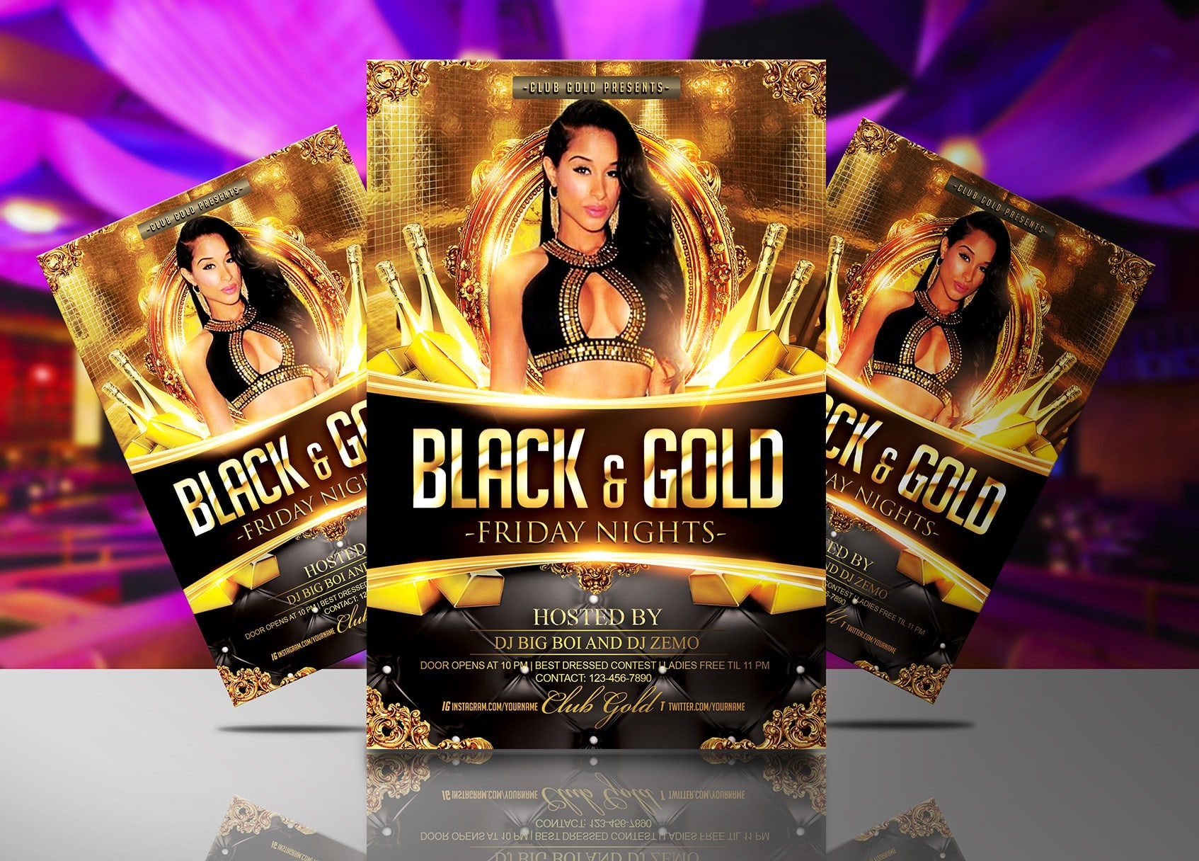 Black and Gold Party Flyer Template JAF Creative Studios