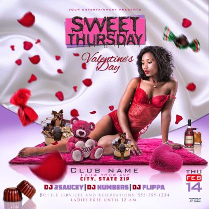 Sweet Thursday Valentine's Day Flyer Template