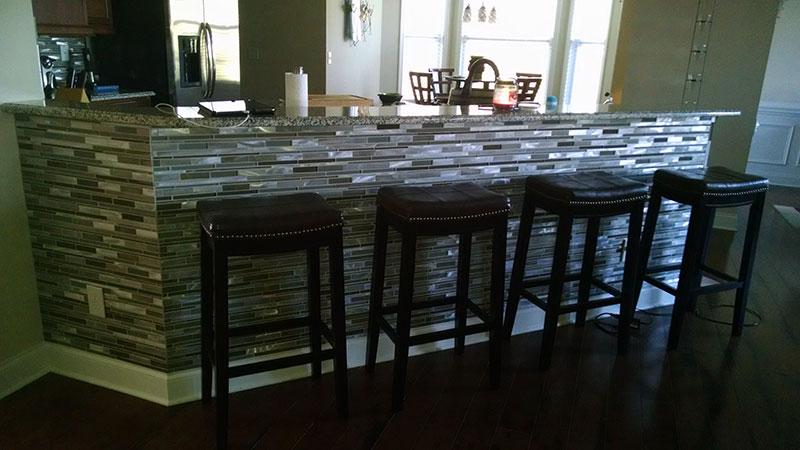 Charlotte NC Kitchen Tile Bar Backsplash Renovation