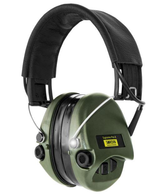 Gehörschutz Sordin PRO-X mit Gelkissen GRÜNE Cups, schwarzem Lederband und LED bei Jagdabsehen
