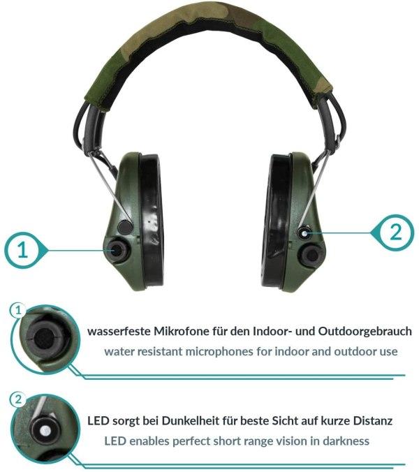 Gehörschutz Sordin PRO-X mit Gelkissen und LED bei Jagdabsehen Mikrofone und LED