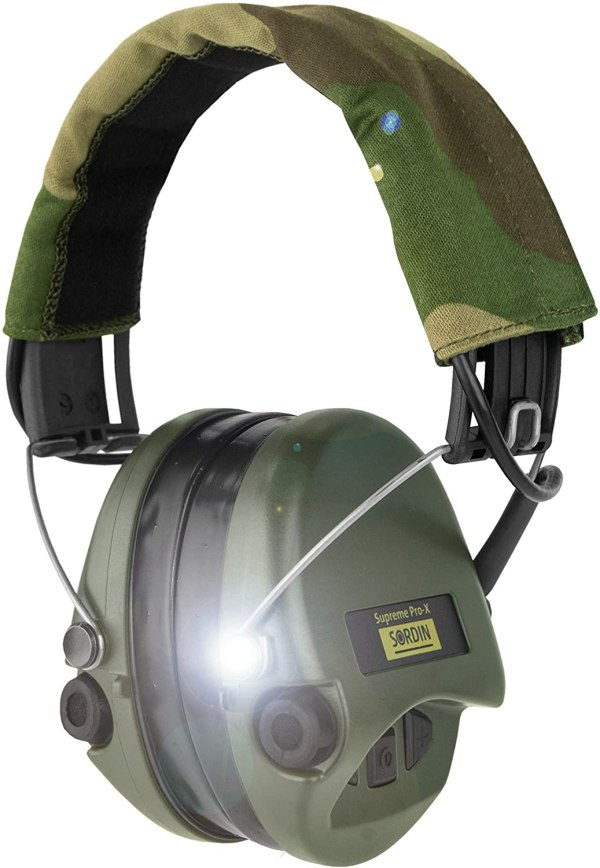 Gehörschutz Sordin PRO-X mit Gelkissen und LED bei Jagdabsehen