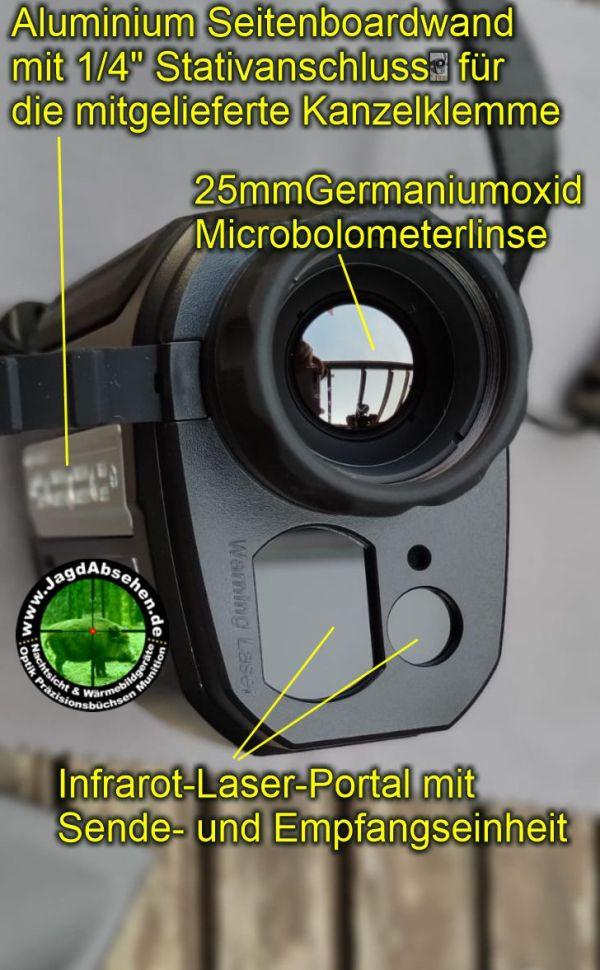 Jagdabsehen KanzelSet Wärmebildhandgerät Infiray Laser Finder 25R mit 600m Laser-Entfernungsmesser mit Kanzelmontage IR-Laser