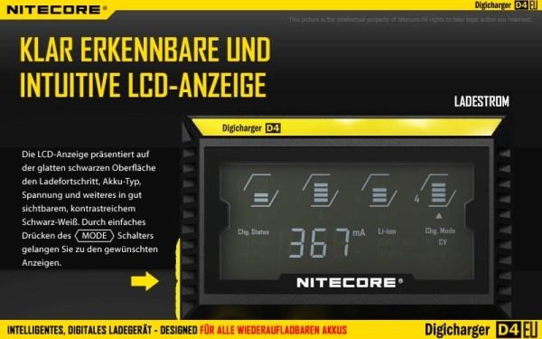 Nitecore Digicharger D4EU - EU-Version Intuitiv
