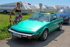 Silke and a Fiat sportscar