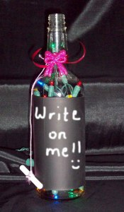 Chalkboard Bottle Lamp for Valentine's Day