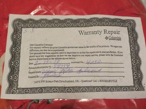 Columbia Warranty Repair