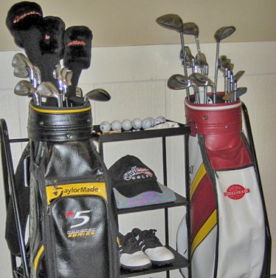 Golf bag organizer made from metal