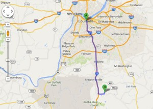 Route from Louisville to Jim Beam, map courtesy of Google Earth