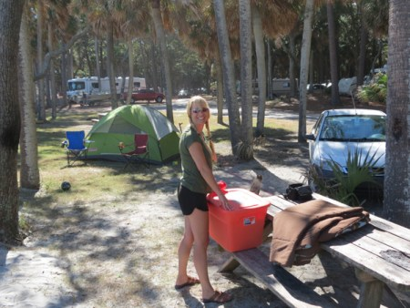 Making camp at Hunting Island State Park