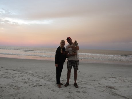 Nick and Silke with Lily at Hunting Island Beach