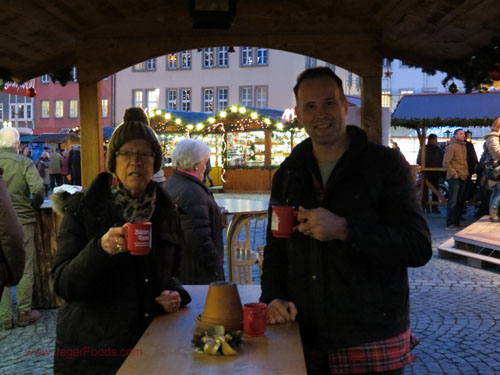 Drinking hot mulled wine in Germany in winter