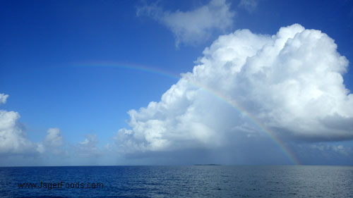 A rainbow over the ocean in Belize
