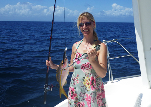 Catching a Reef Fish while sailing in Belize