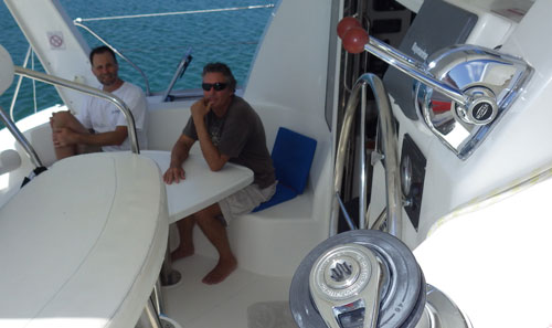 Dale and Nick on the MokaKat at Monkey Caye in Belize