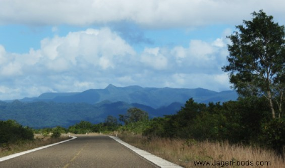Southern Highway in Belize with the Mayan Mountains in the background