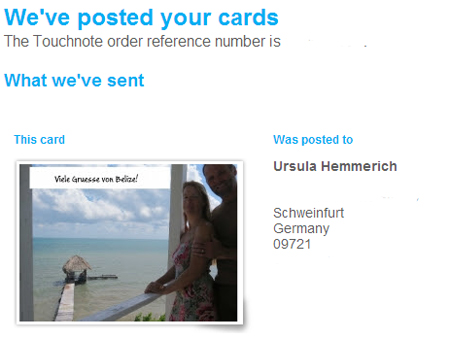 Confirmation from Touchnote, an Online Postcard Service.