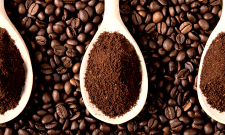 Differently ground coffee beans
