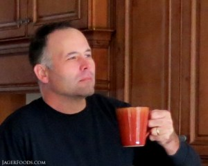 Nick enjoying a cup of coffee while house sitting in NC