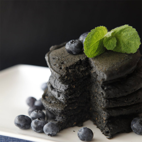 Charcoal pancakes with blueberries