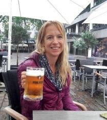 Sitting in the rain in Hamburg drinking beer.
