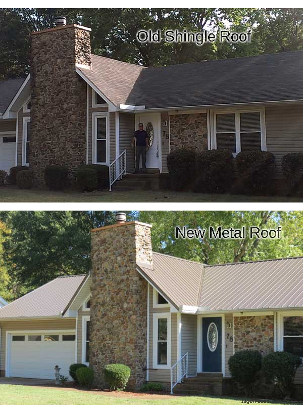 New metal and old shingle roof