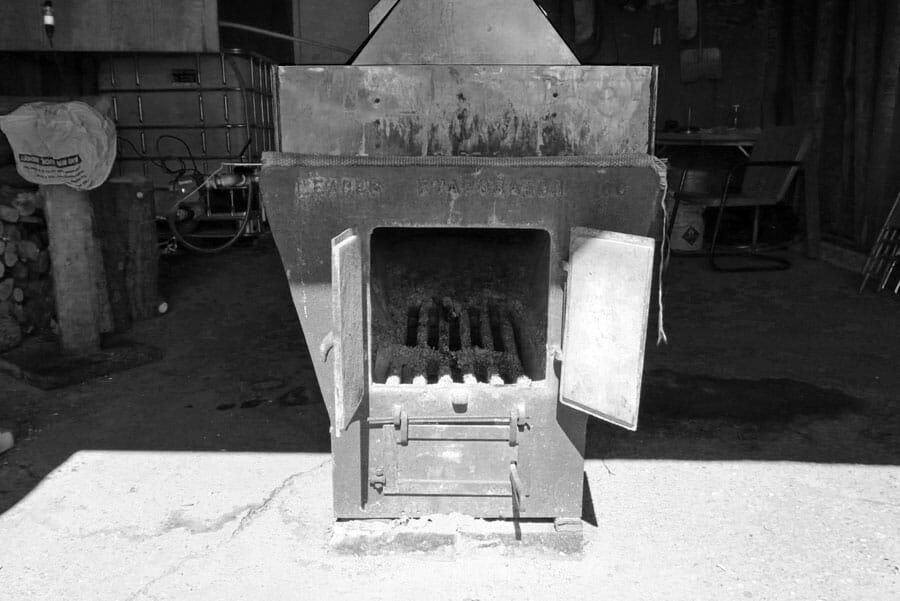 The wood box on the evaporator