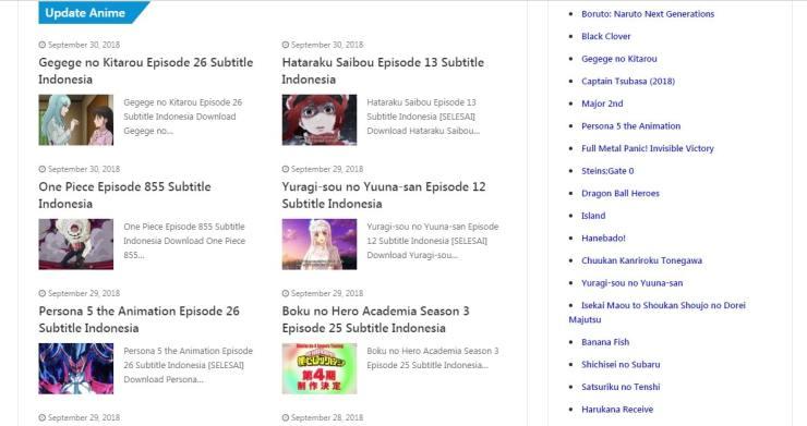 Kumpulan 15 Situs Download Anime Populer Terbaik Gratis Subtitle Indonesia