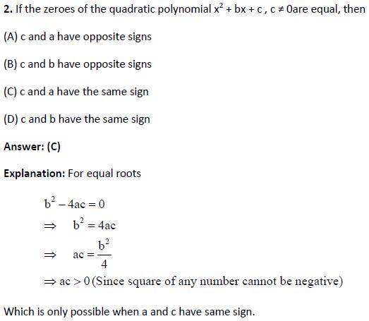 CBSE Class 10 Maths MCQs Chapter 2 Polynomials