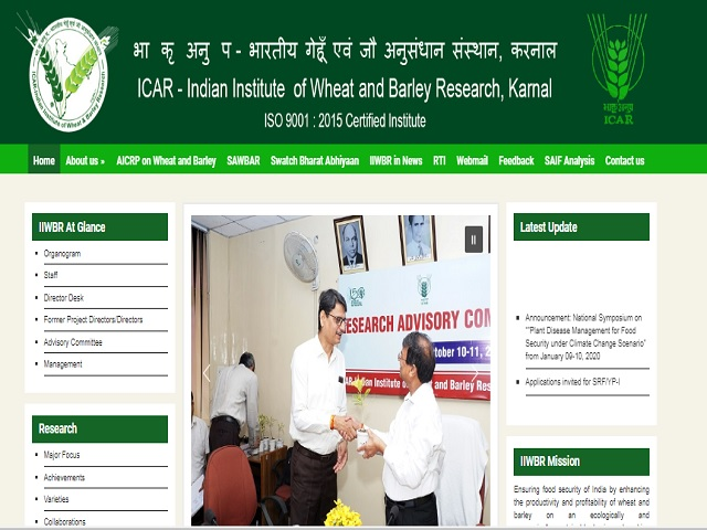 ICAR-Indian Institute of Wheat and Barley Research (IIWBR) Recruitment 2019