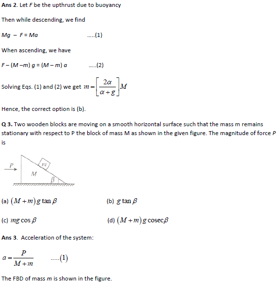 Practice questions on newton's laws of motion I