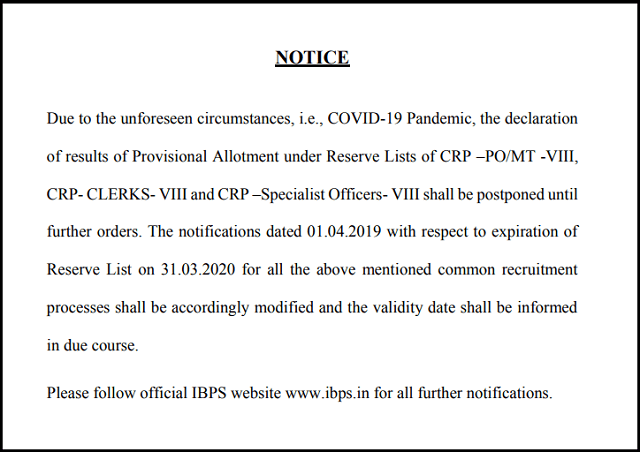 IBPS Results 2020 postponed