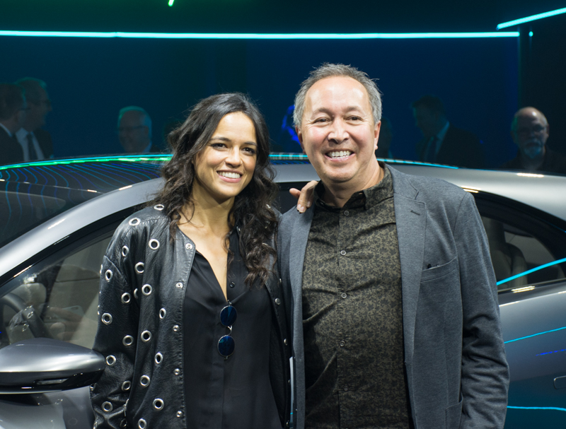Actress Michelle Rodriguez and Julian Thomson, Jaguar Director of Advanced Design