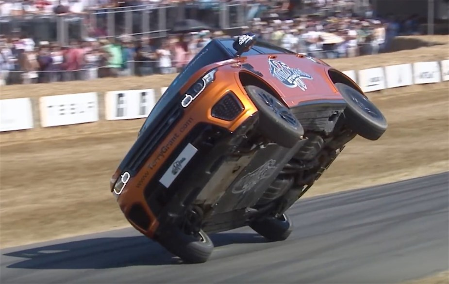 Goodwood Hill Climb Range Rover SVR two wheel record Terry Grant