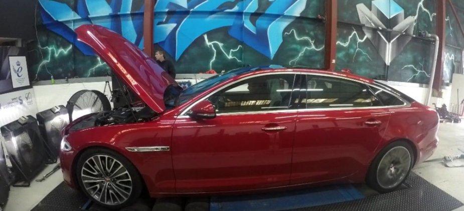Jaguar XJR Hood Up on Dyno